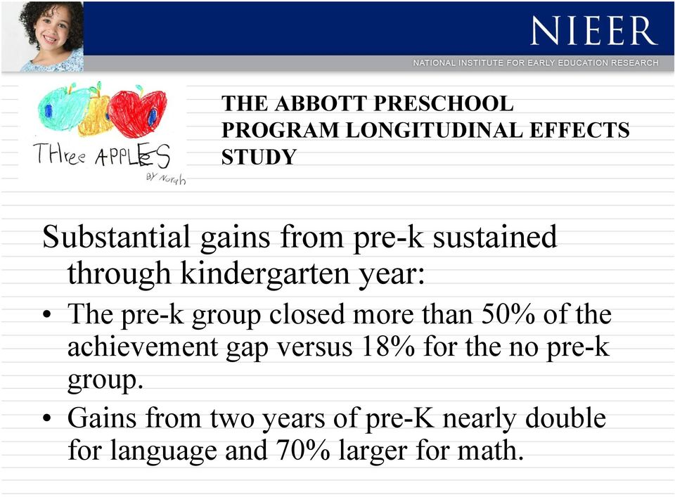 more than 50% of the achievement gap versus 18% for the no pre-k group.