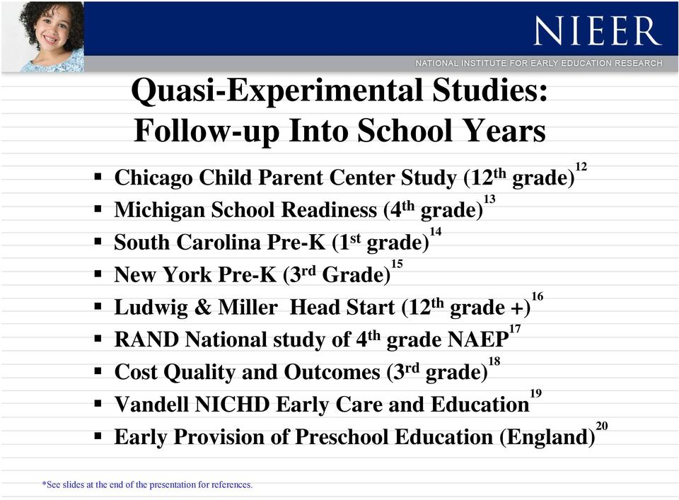 th grade +) 16 RAND National study of 4 th grade NAEP 17 Cost Quality and Outcomes (3 rd grade) 18 Vandell NICHD Early Care