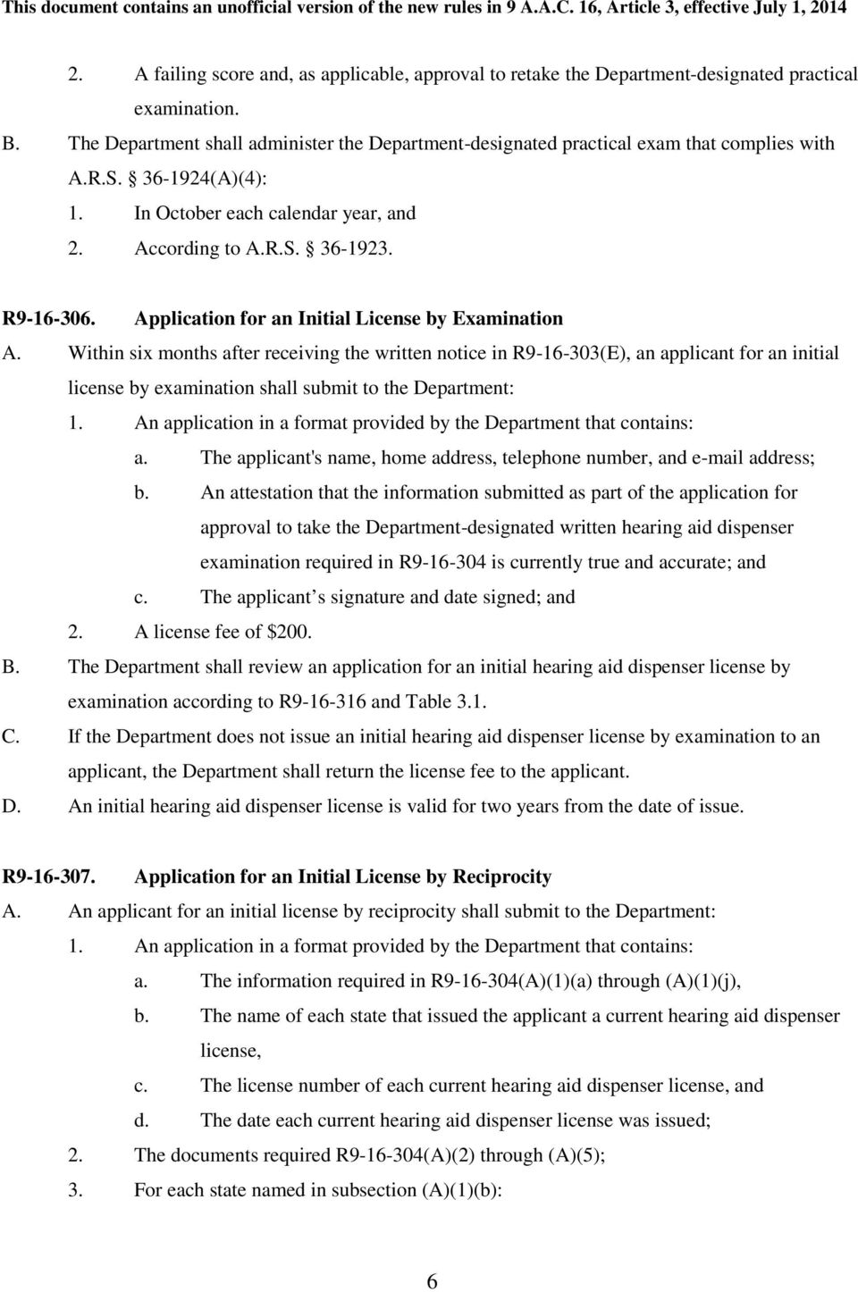Application for an Initial License by Examination A.