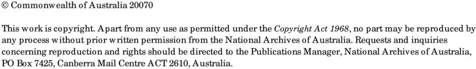 without prior written permission from the National Archives of Australia.