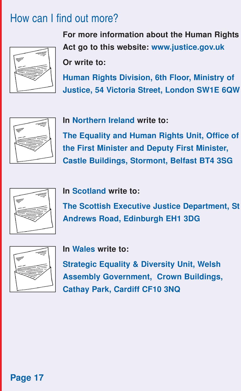 Human Rights Unit, Office of the First Minister and Deputy First Minister, Castle Buildings, Stormont, Belfast BT4 3SG In Scotland write to: The Scottish