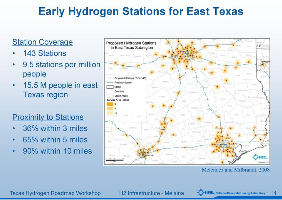 5 M people in east Texas region Proximity to Stations 36%