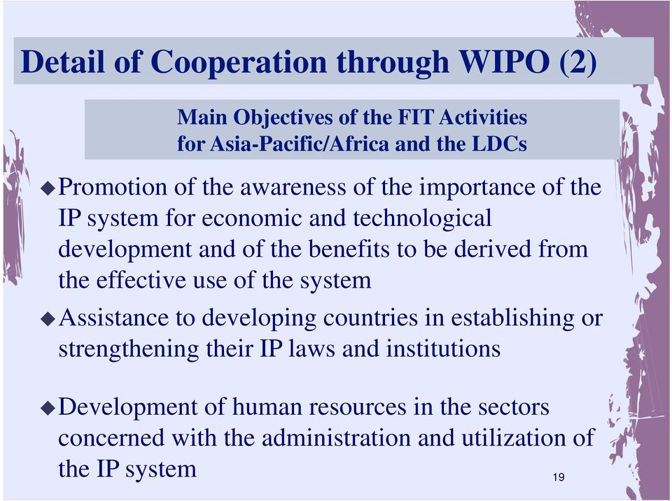 derived from the effective use of the system Assistance to developing countries in establishing or strengthening their IP