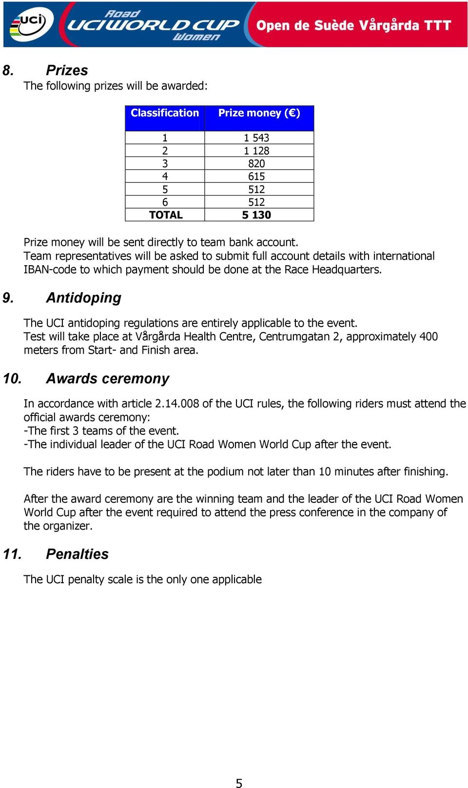 Antidoping The UCI antidoping regulations are entirely applicable to the event. Test will take place at Vårgårda Health Centre, Centrumgatan 2, approximately 400 meters from Start- and Finish area.