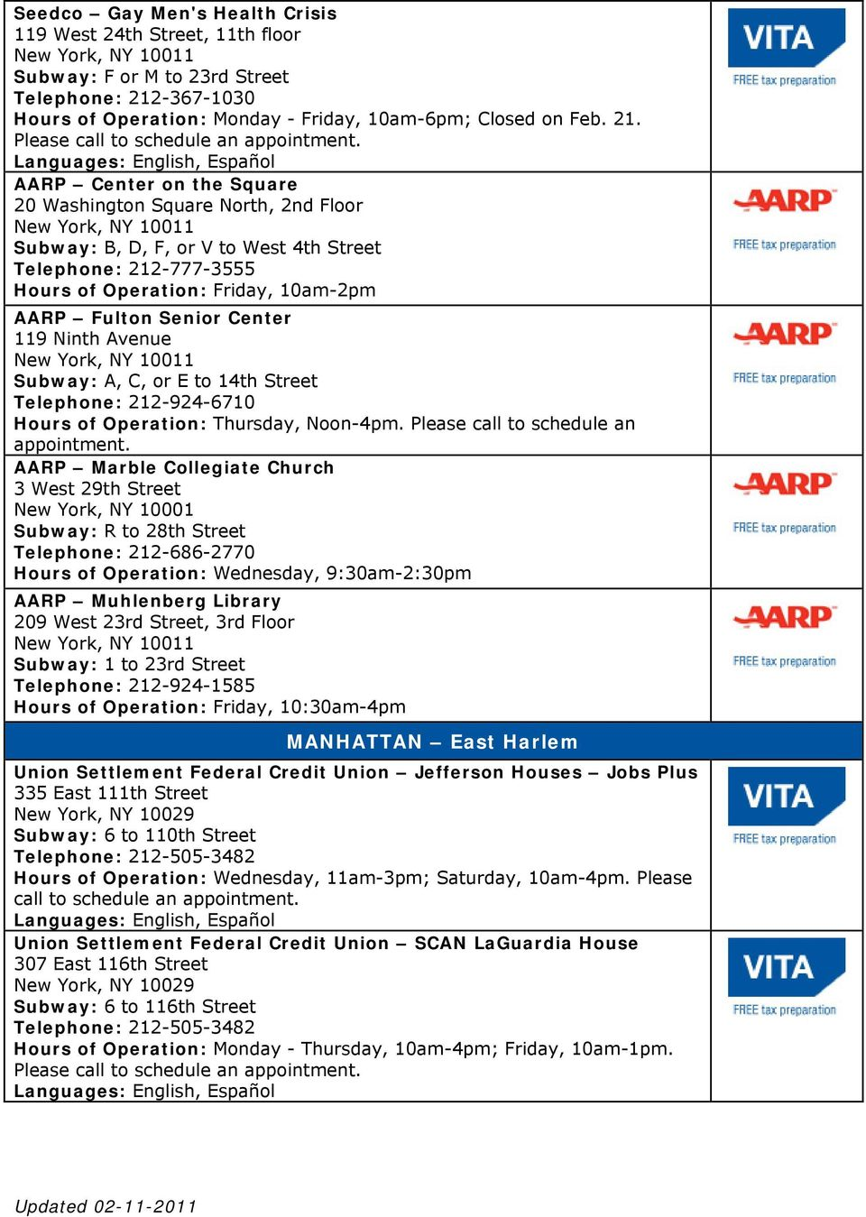AARP Center on the Square 20 Washington Square North, 2nd Floor New York, NY 10011 Subway: B, D, F, or V to West 4th Street Telephone: 212-777-3555 Hours of Operation: Friday, 10am-2pm AARP Fulton