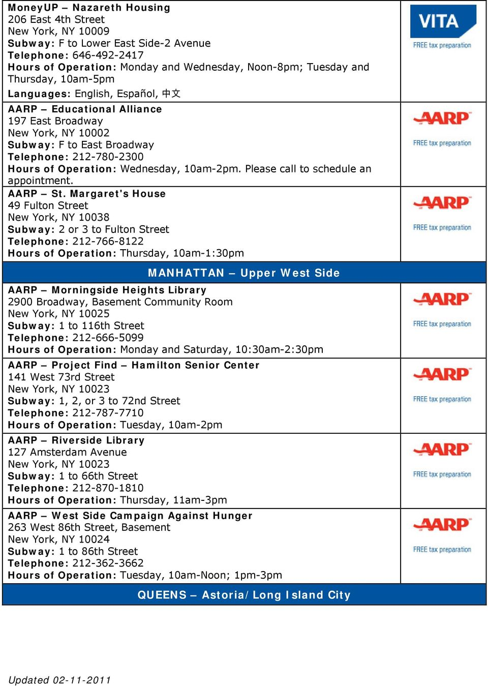 Please call to schedule an appointment. AARP St.