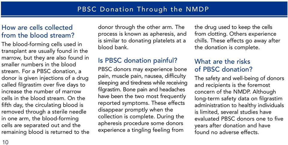 For a PBSC donation, a donor is given injections of a drug called filgrastim over five days to increase the number of marrow cells in the blood stream.
