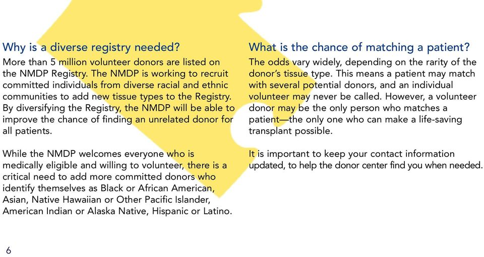 By diversifying the Registry, the NMDP will be able to improve the chance of finding an unrelated donor for all patients.