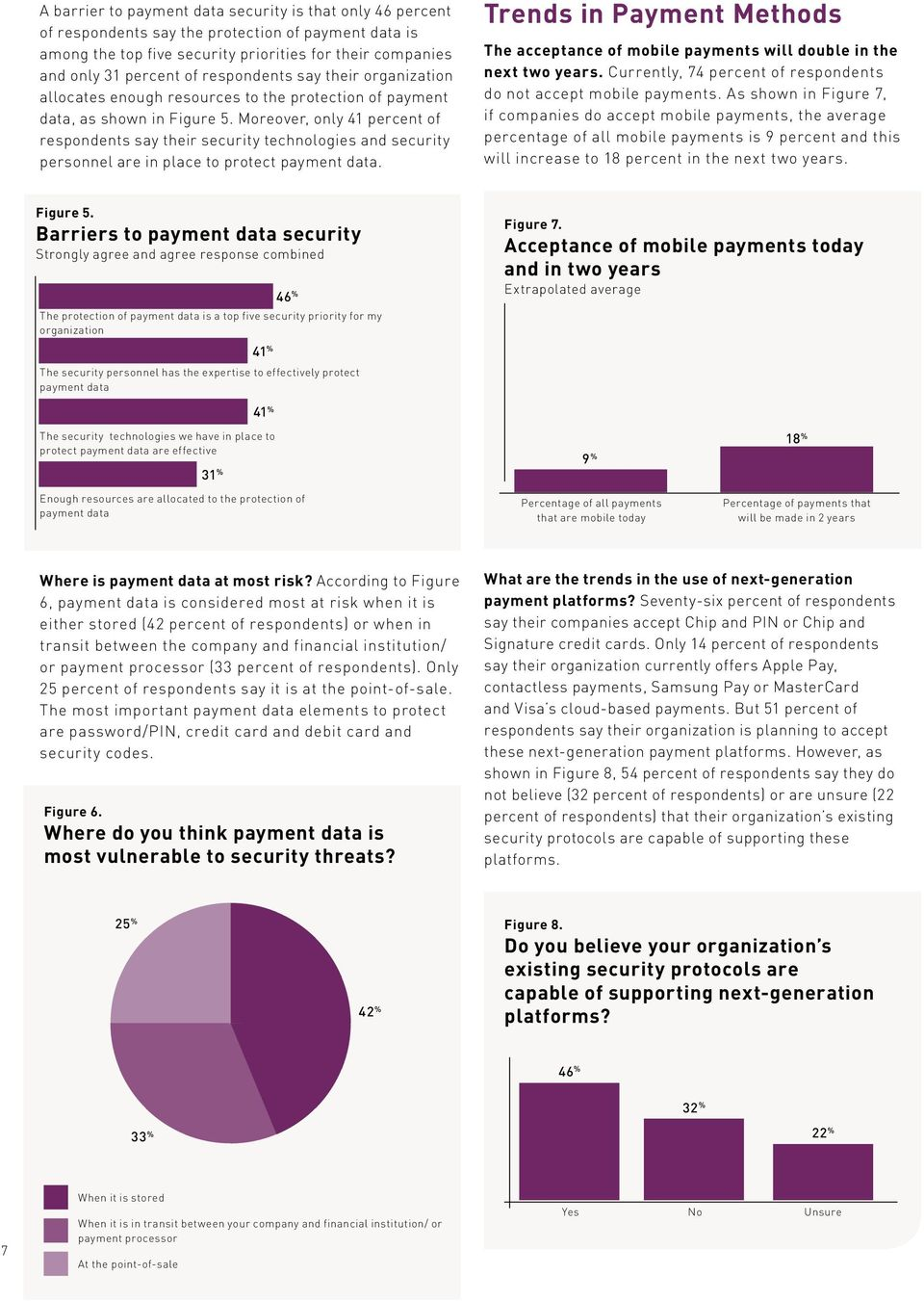 Moreover, only 41 percent of respondents say their security technologies and security personnel are in place to protect payment data.