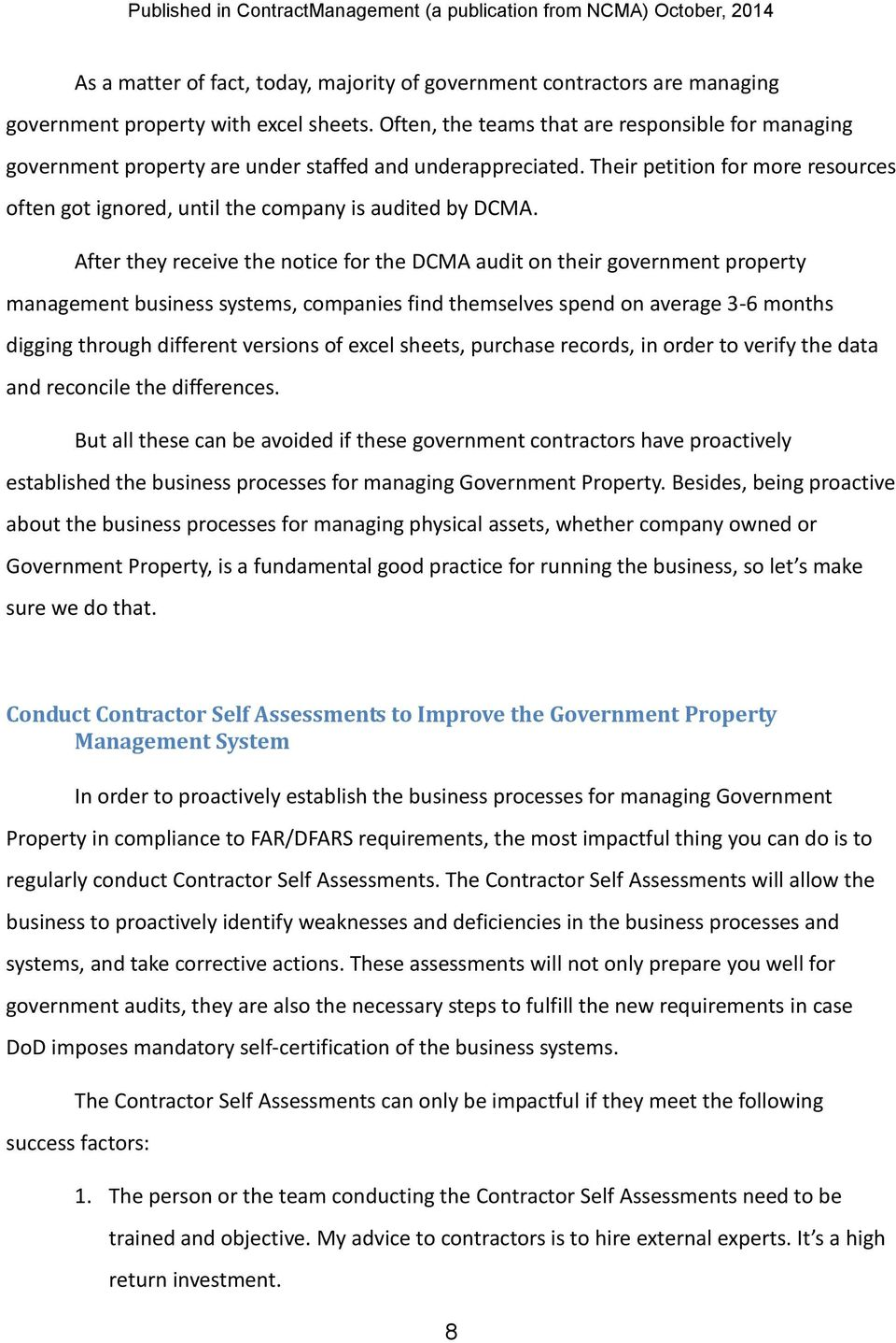 Prepare for Self-Certification of the Government Property Management ...