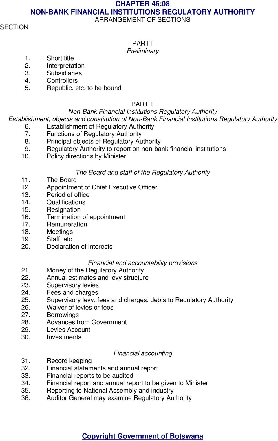 Establishment of Regulatory Authority 7. Functions of Regulatory Authority 8. Principal objects of Regulatory Authority 9. Regulatory Authority to report on non-bank financial institutions 10.