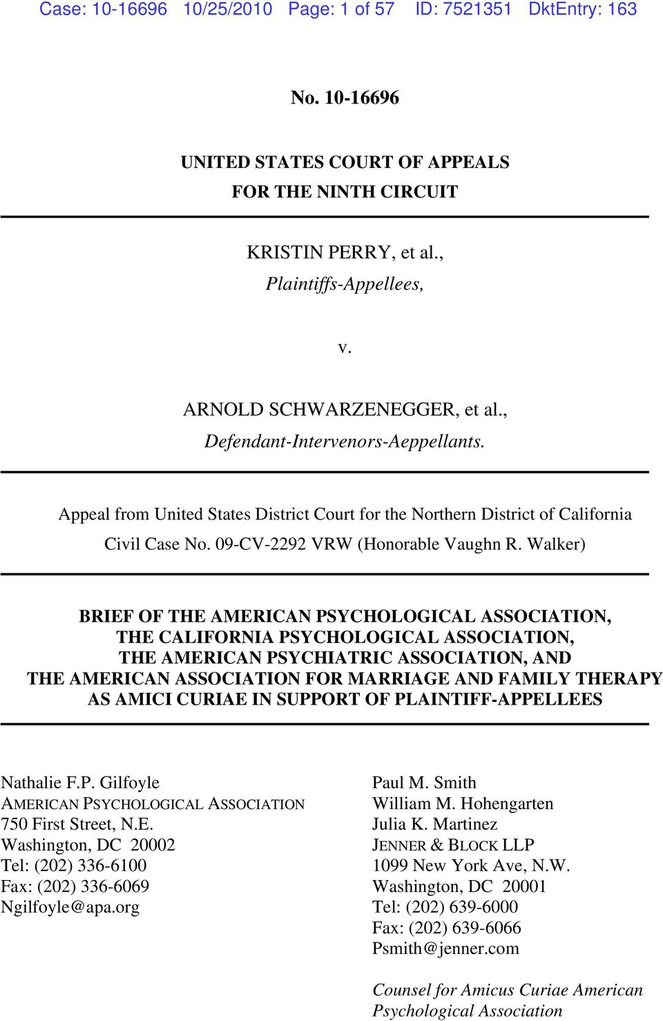 Walker) BRIEF OF THE AMERICAN PSYCHOLOGICAL ASSOCIATION, THE CALIFORNIA PSYCHOLOGICAL ASSOCIATION, THE AMERICAN PSYCHIATRIC ASSOCIATION, AND THE AMERICAN ASSOCIATION FOR MARRIAGE AND FAMILY THERAPY