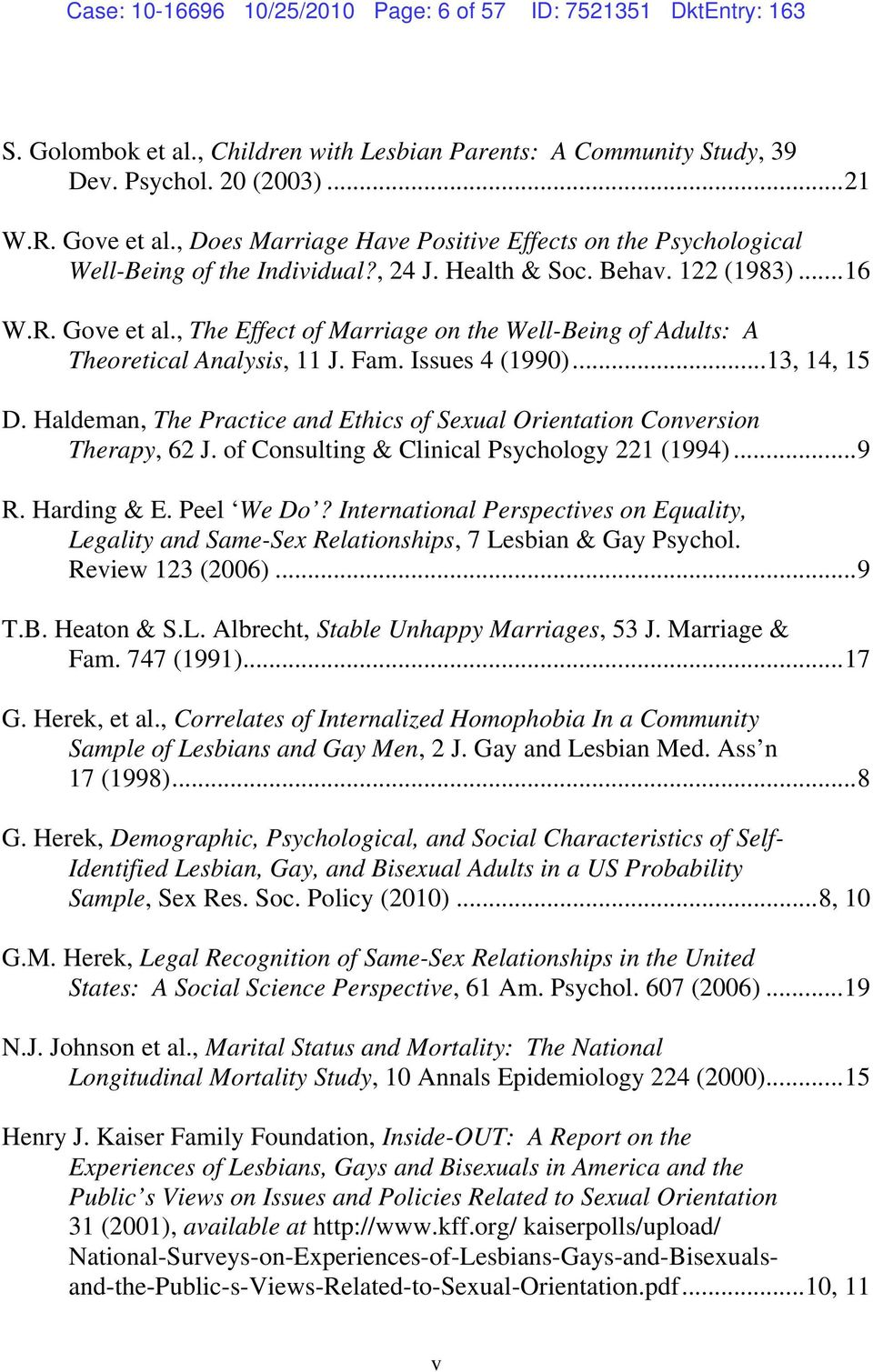 , The Effect of Marriage on the Well-Being of Adults: A Theoretical Analysis, 11 J. Fam. Issues 4 (1990)...13, 14, 15 D.