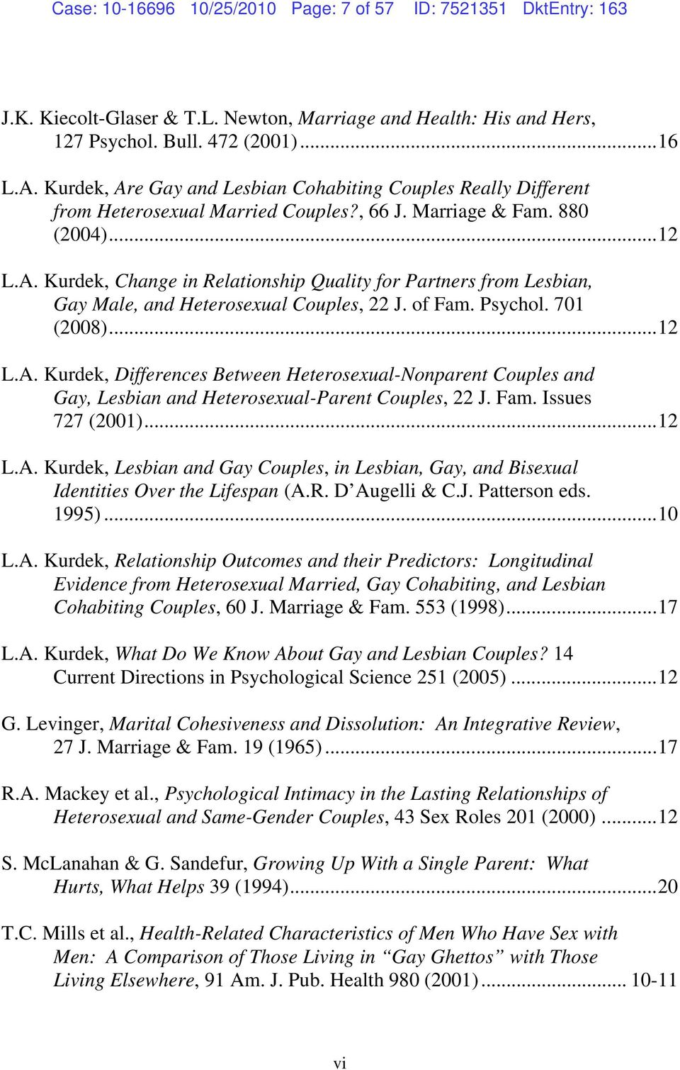 of Fam. Psychol. 701 (2008)...12 L.A. Kurdek, Differences Between Heterosexual-Nonparent Couples and Gay, Lesbian and Heterosexual-Parent Couples, 22 J. Fam. Issues 727 (2001)...12 L.A. Kurdek, Lesbian and Gay Couples, in Lesbian, Gay, and Bisexual Identities Over the Lifespan (A.