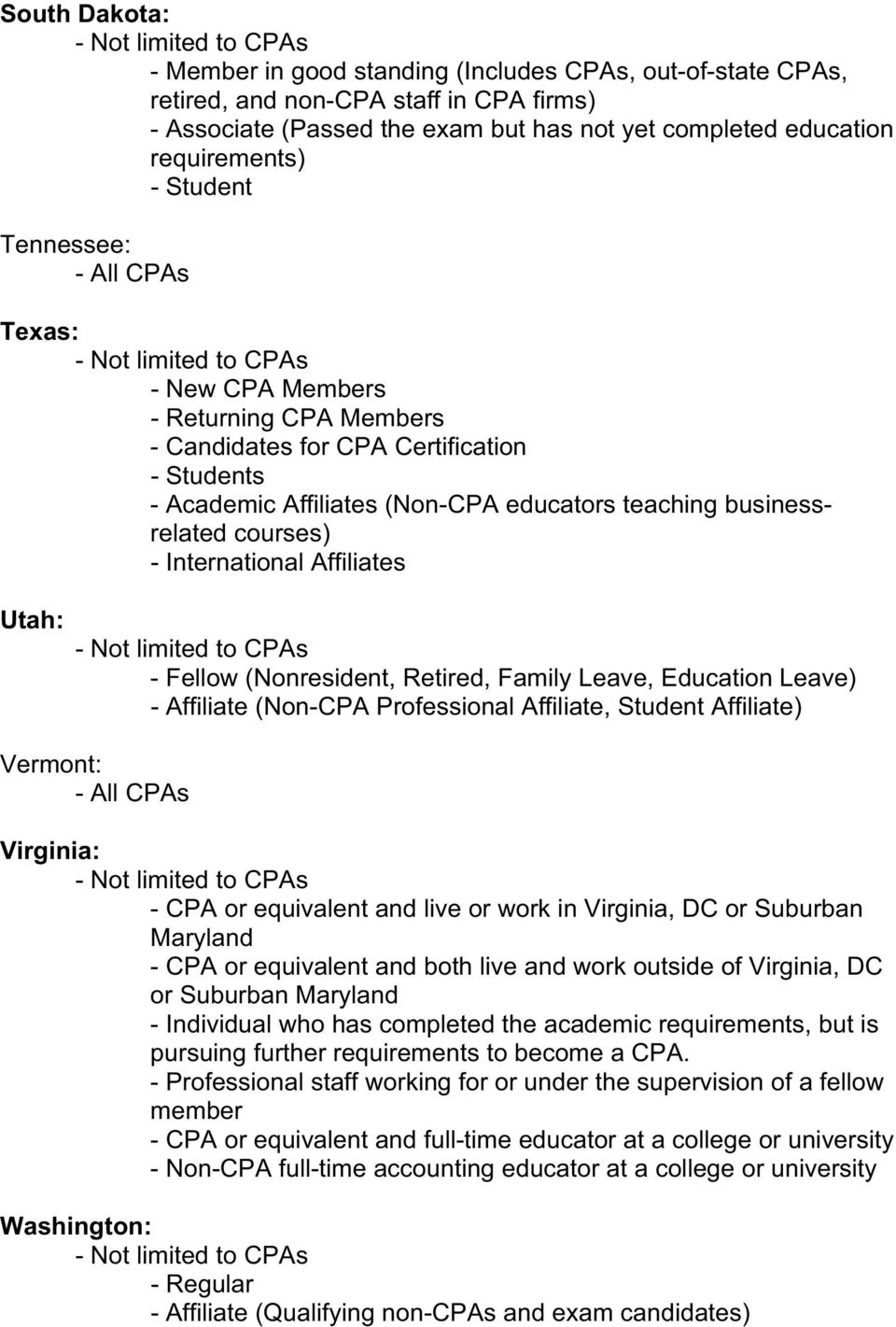 Utah: (Nonresident, Retired, Family Leave, Education Leave) - Affiliate (Non-CPA Professional Affiliate, Student Affiliate) Vermont: Virginia: - CPA or equivalent and live or work in Virginia, DC or