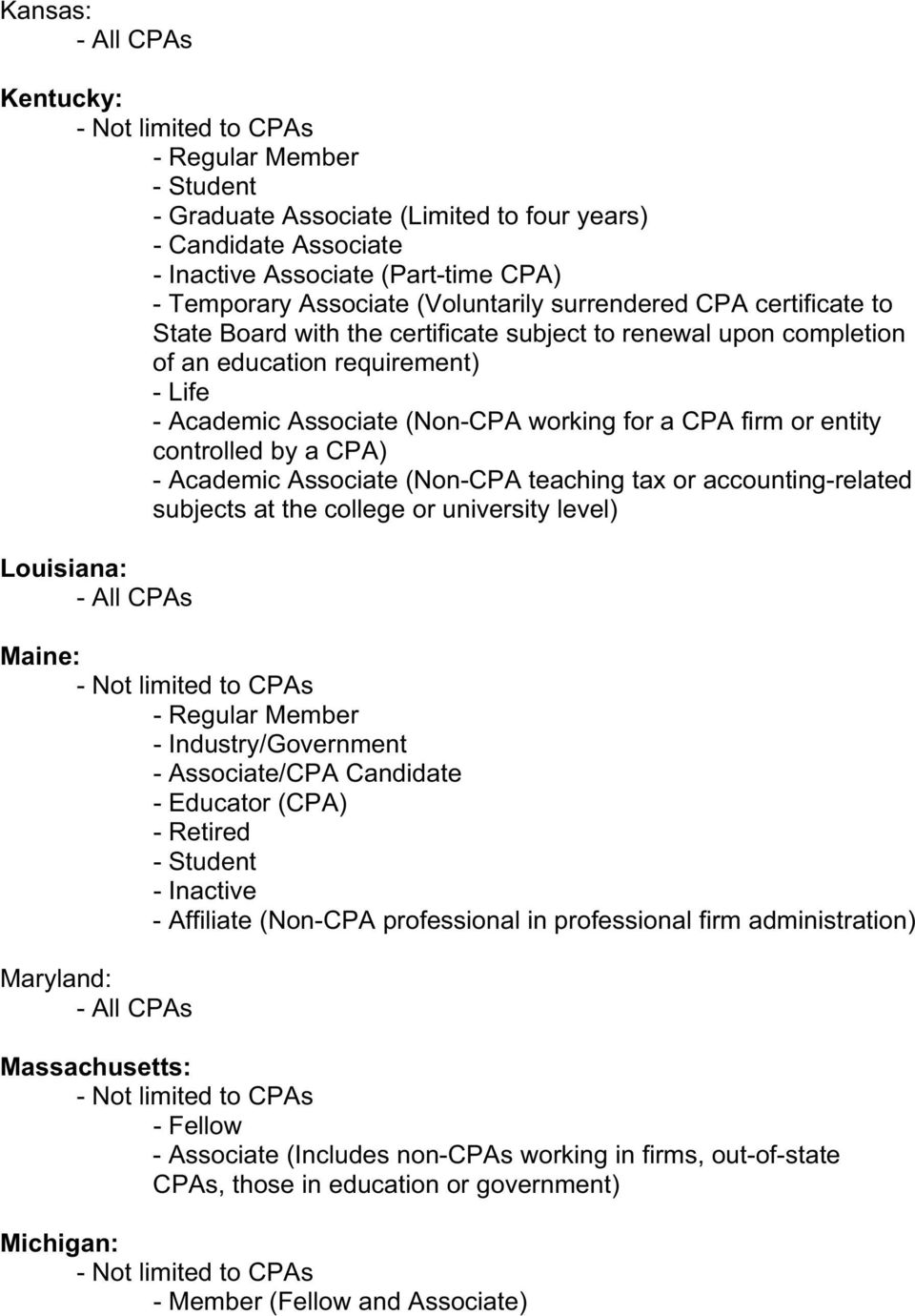 CPA) - Academic Associate (Non-CPA teaching tax or accounting-related subjects at the college or university level) Louisiana: Maine: - Regular Member - Industry/Government - Associate/CPA Candidate -