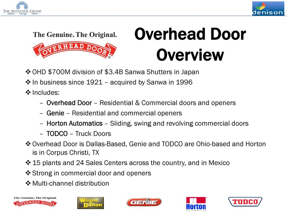 openers Genie Residential and commercial openers Horton Automatics ti Sliding, swing and revolving commercial doors TODCO Truck Doors