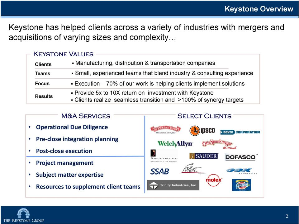 helping clients implement solutions Provide 5x to 10X return on investment with Keystone Clients realize seamless transition and >100% of synergy targets M&A Services