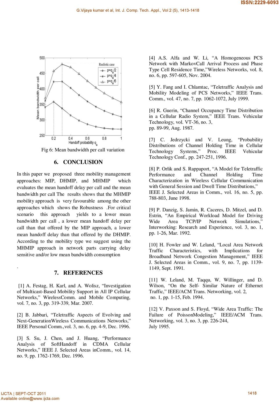 Guerin, Channel Occupancy Time Distribution in a Cellular Radio System, IEEE Trans. Vehicular Technology, vol. VT-36, no. 3, pp. 89-99, Aug. 1987. Fig 6: Mean bandwidth per call variation 6.