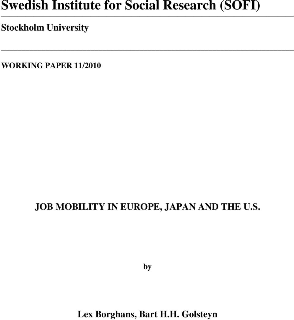 11/2010 JOB MOBILITY IN EUROPE, JAPAN AND