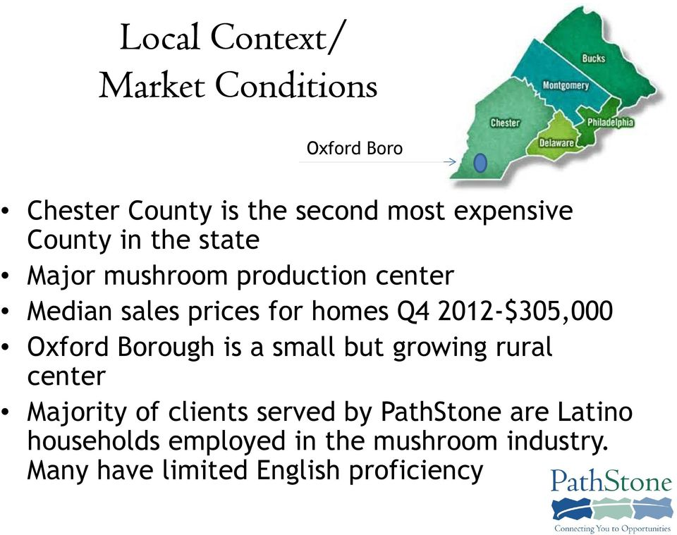 2012-$305,000 Oxford Borough is a small but growing rural center Majority of clients served