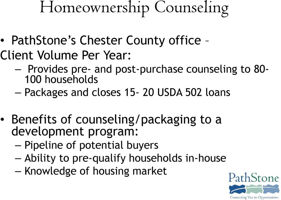 15-20 USDA 502 loans Benefits of counseling/packaging to a development program: