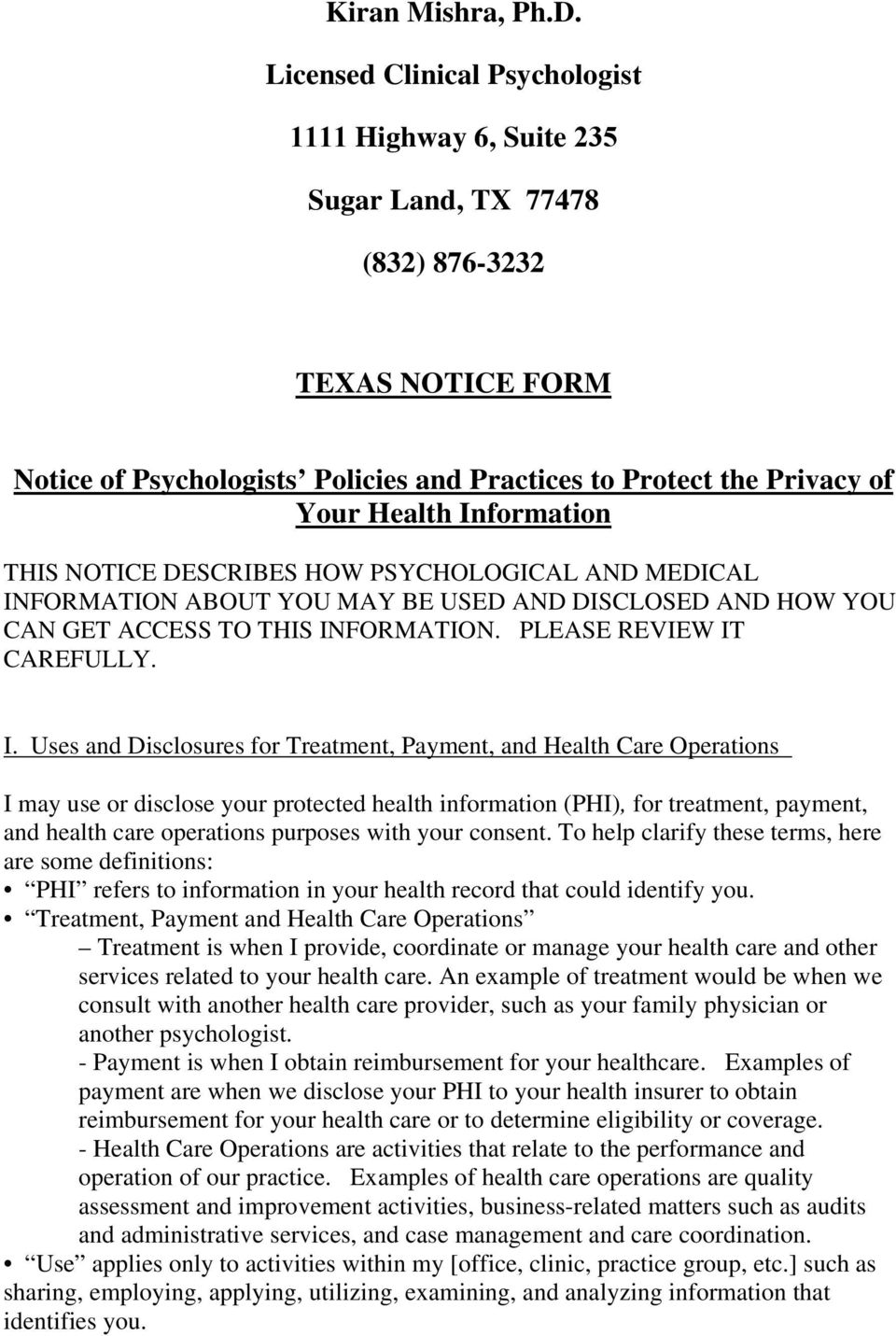 Information THIS NOTICE DESCRIBES HOW PSYCHOLOGICAL AND MEDICAL IN