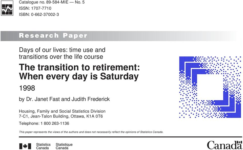 transition to retirement: When every day is Saturday 1998 by Dr.