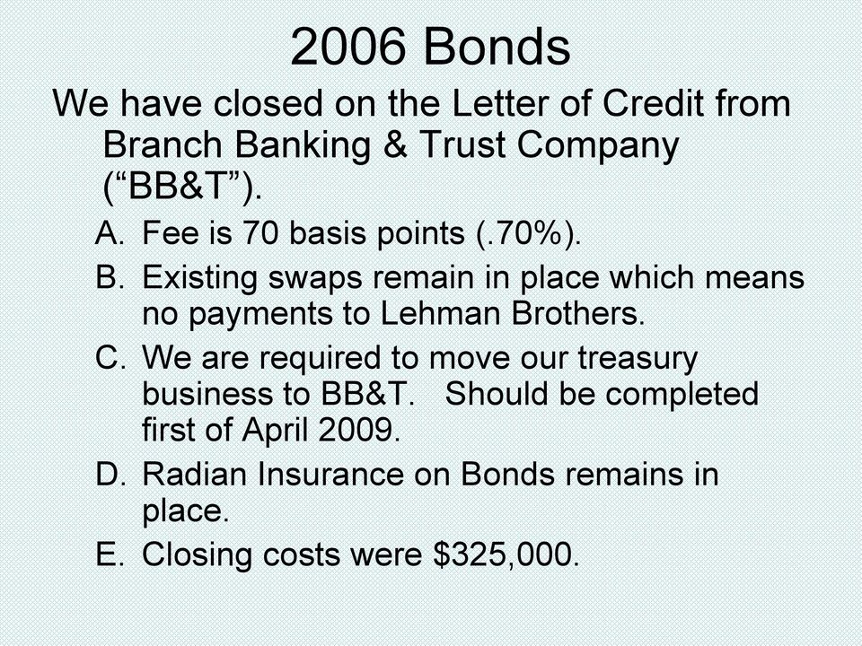 Existing swaps remain in place which means no payments to Lehman Brothers. C.