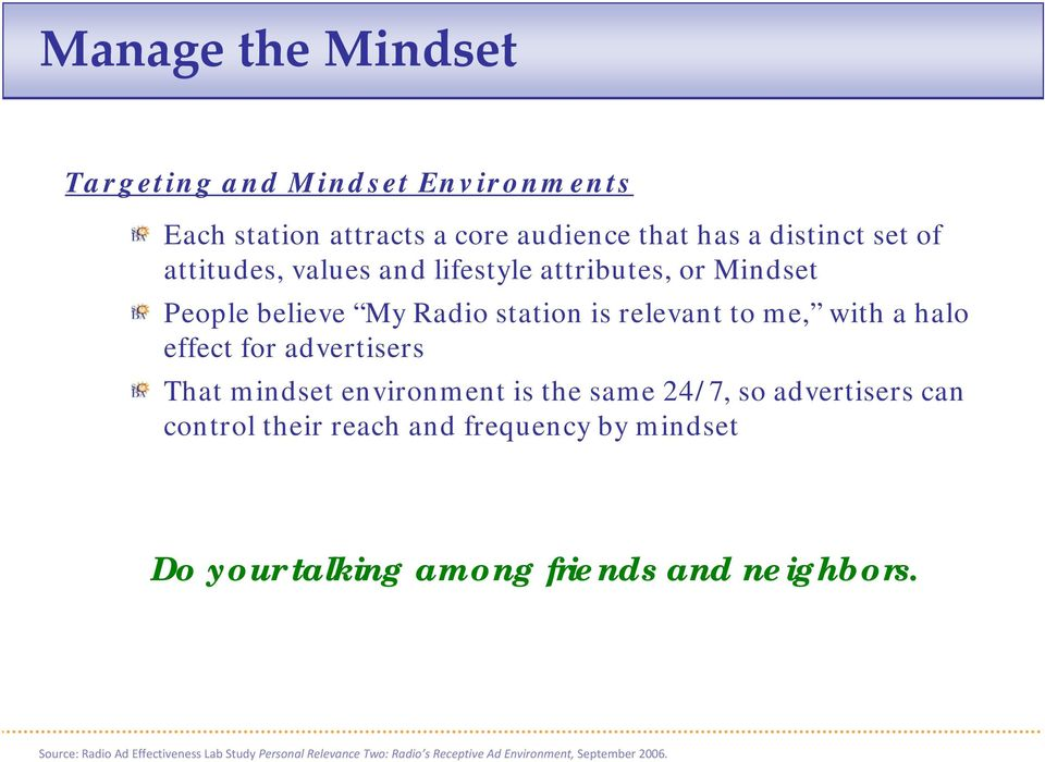 That mindset environment is the same 24/7, so advertisers can control their reach and frequency by mindset Do your talking among