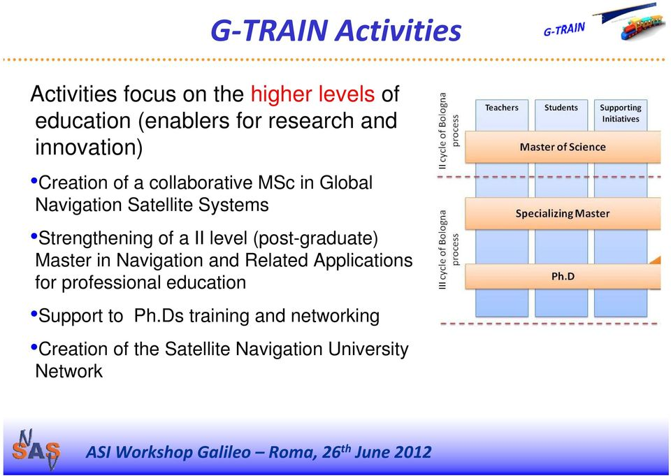 of a II level (post-graduate) Master in Navigation and Related Applications for professional