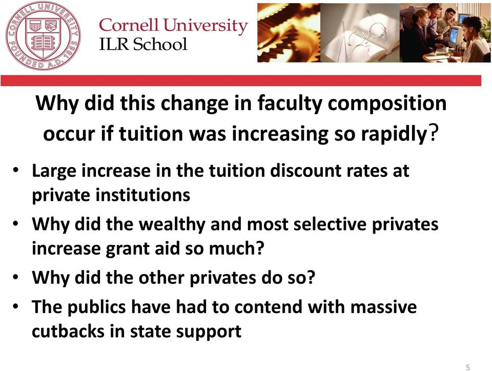 Large increase in the tuition discount rates at private institutions Why did the