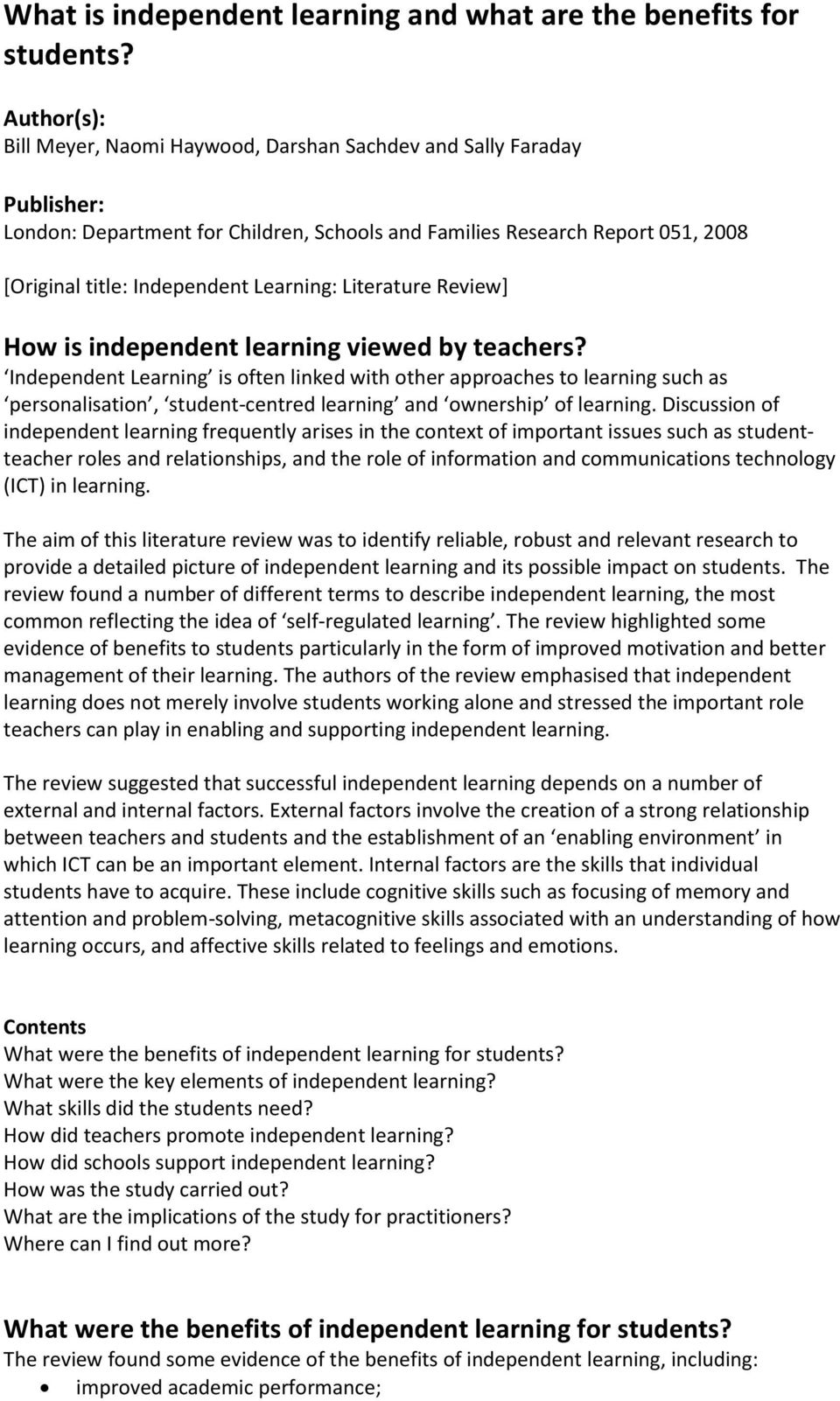 Learning: Literature Review] How is independent learning viewed by teachers?