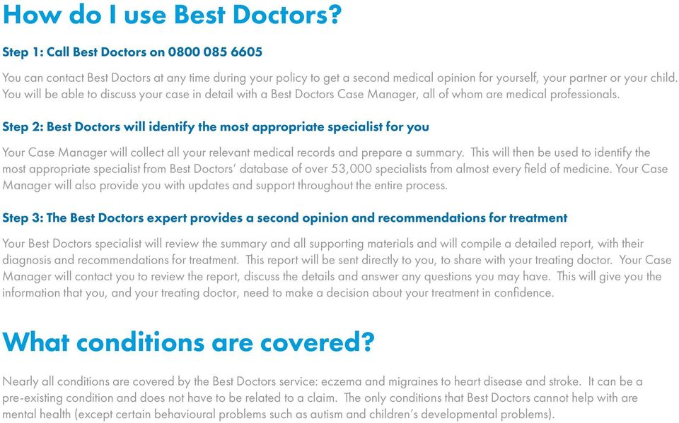 You will be able to discuss your case in detail with a Best Doctors Case Manager, all of whom are medical professionals.