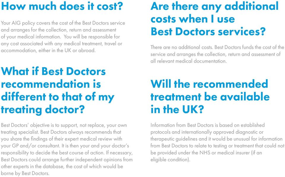 What if Best Doctors recommendation is different to that of my treating doctor? Best Doctors objective is to support, not replace, your own treating specialist.