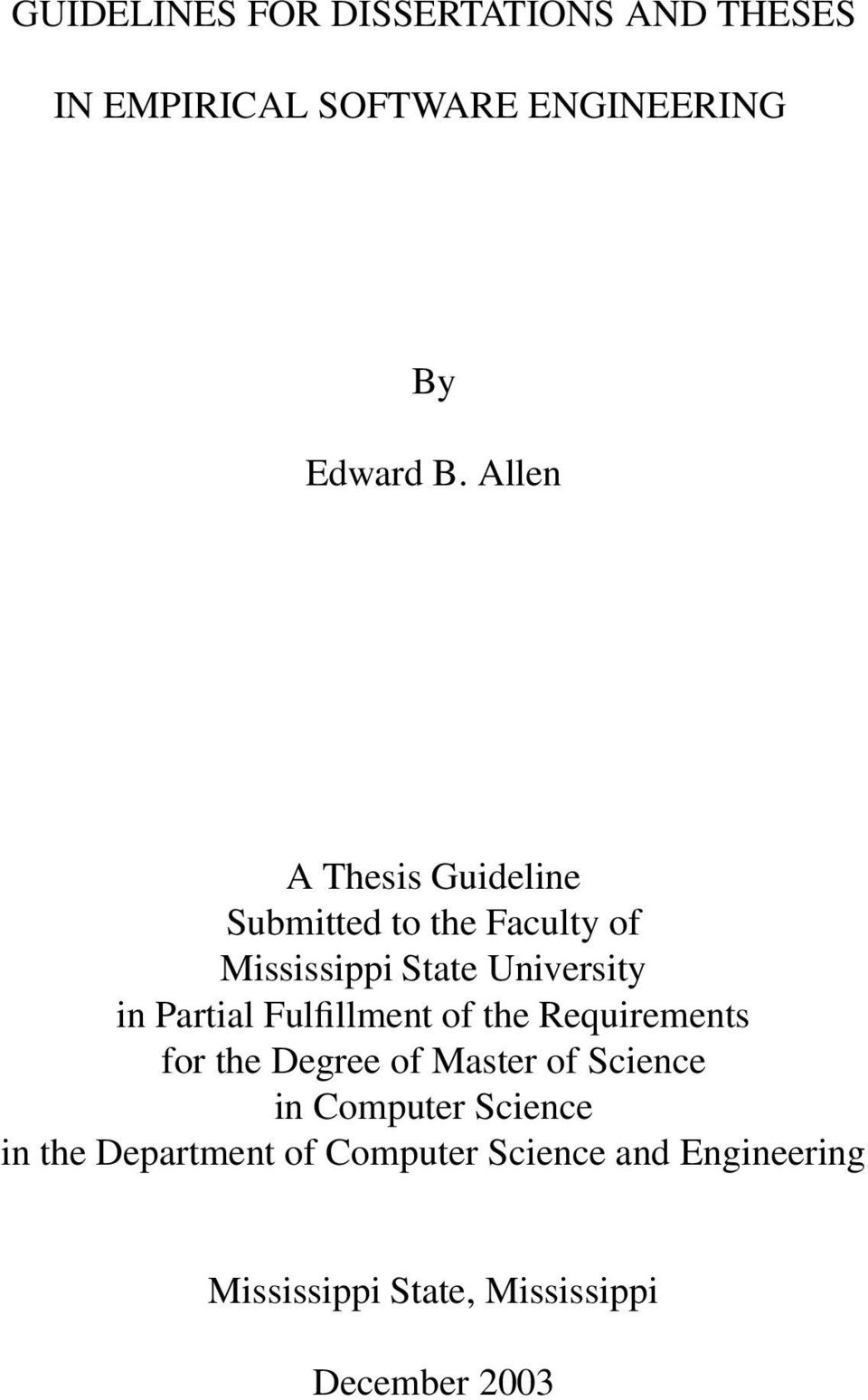 Partial Fulfillment of the Requirements for the Degree of Master of Science in Computer