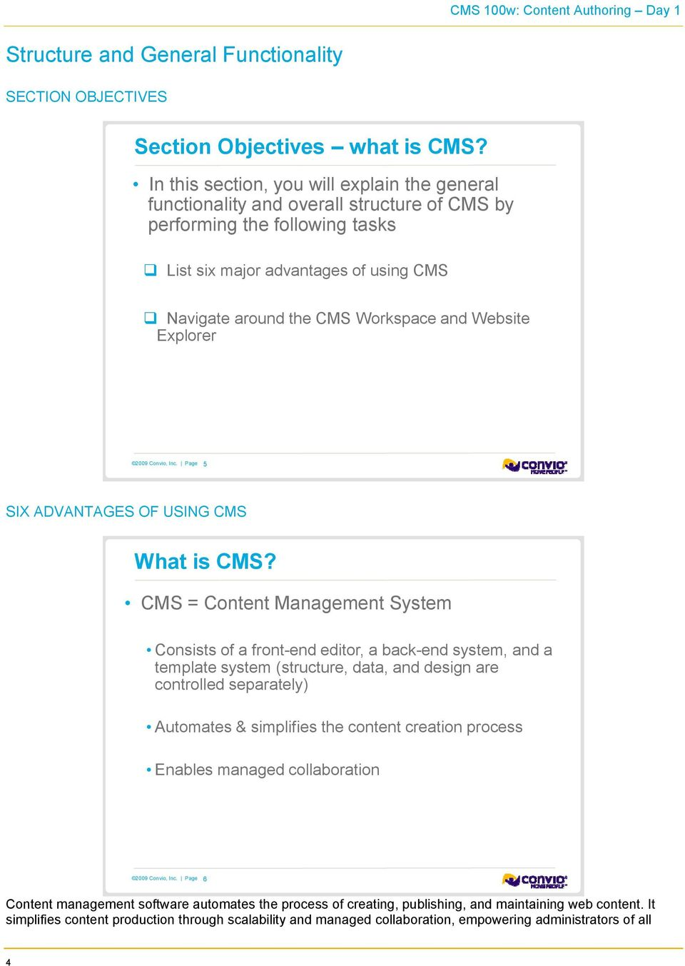 Website Explorer 5 SIX ADVANTAGES OF USING CMS What is CMS?