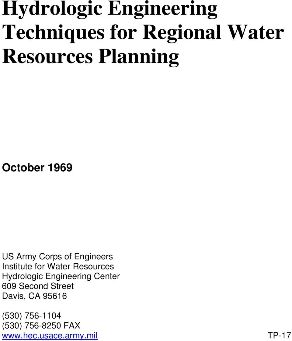 Water Resources Hydrologic Engineering Center 609 Second Street
