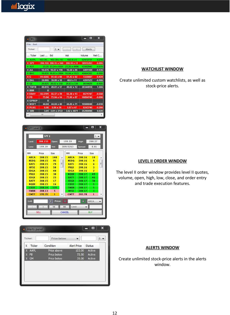 LEVEL II ORDER WINDOW The level II order window provides level II quotes,
