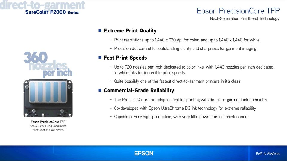 speeds - Quite possibly one of the fastest direct-to-garment printers in it s class Commercial-Grade Reliability - The PrecisionCore print chip is ideal for printing with direct-to-garment ink