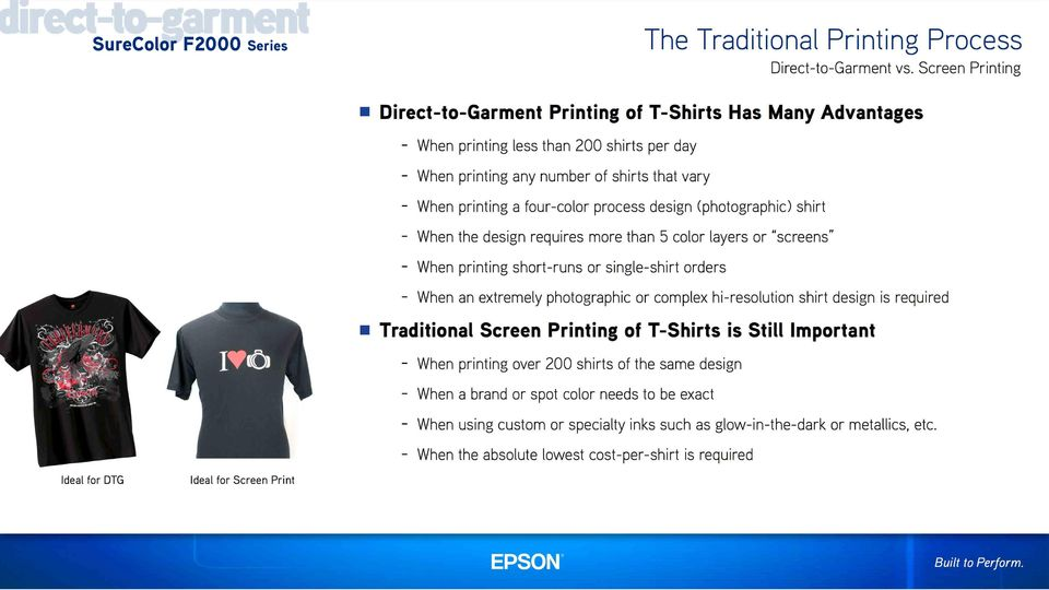 process design (photographic) shirt - When the design requires more than 5 color layers or screens - When printing short-runs or single-shirt orders - When an extremely photographic or complex