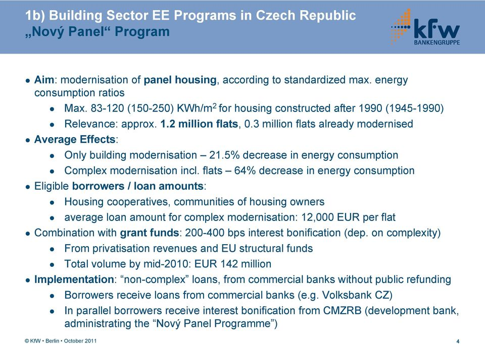 5% decrease in energy consumption Complex modernisation incl.