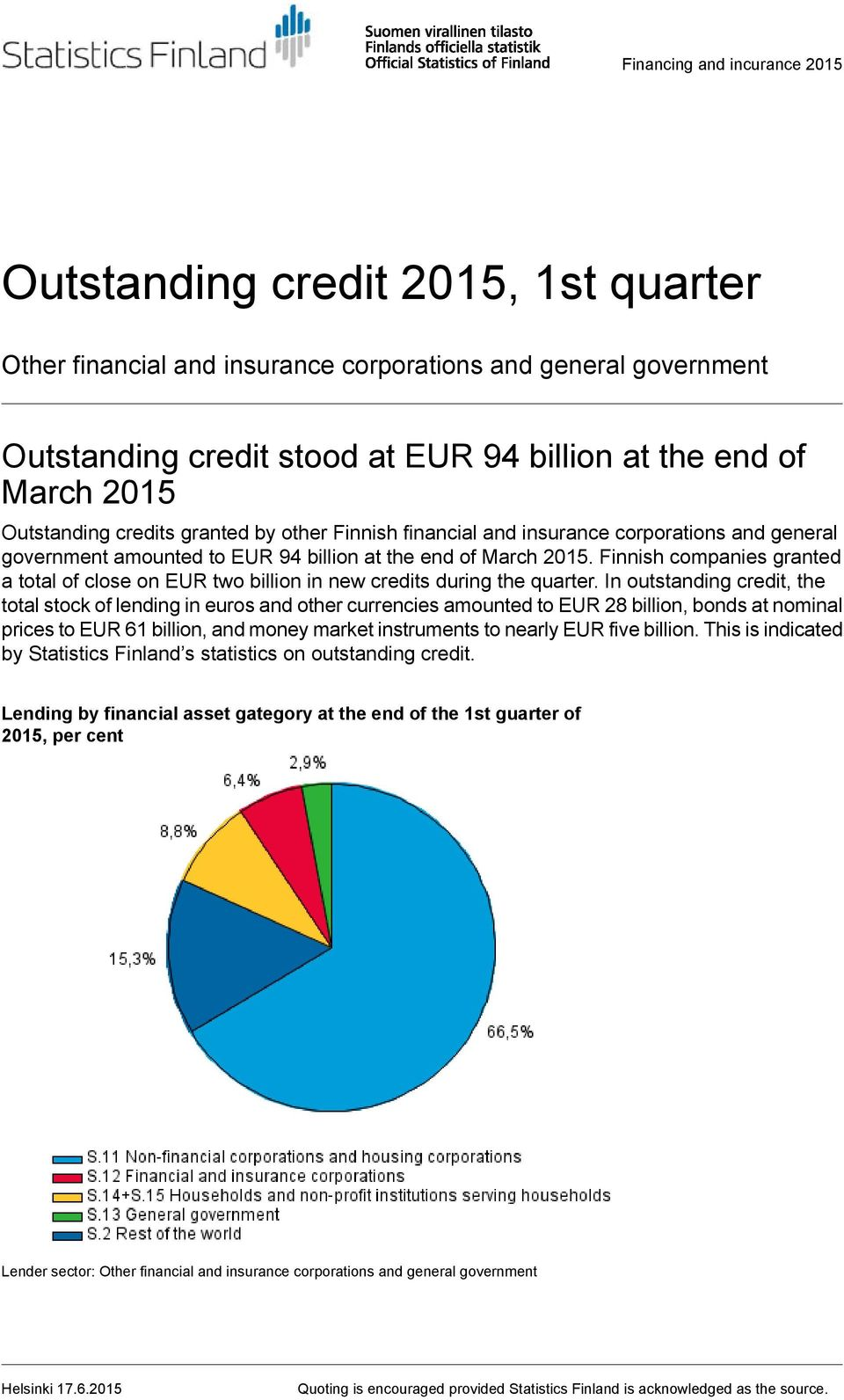 Finnish companies granted a total of close on EUR two billion in new credits during the quarter.