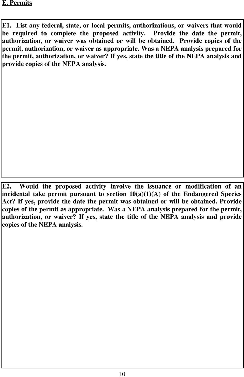 Was a NEPA analysis prepared for the permit, authorization, or waiver? If yes, state the title of the NEPA analysis and provide copies of the NEPA analysis. E2.