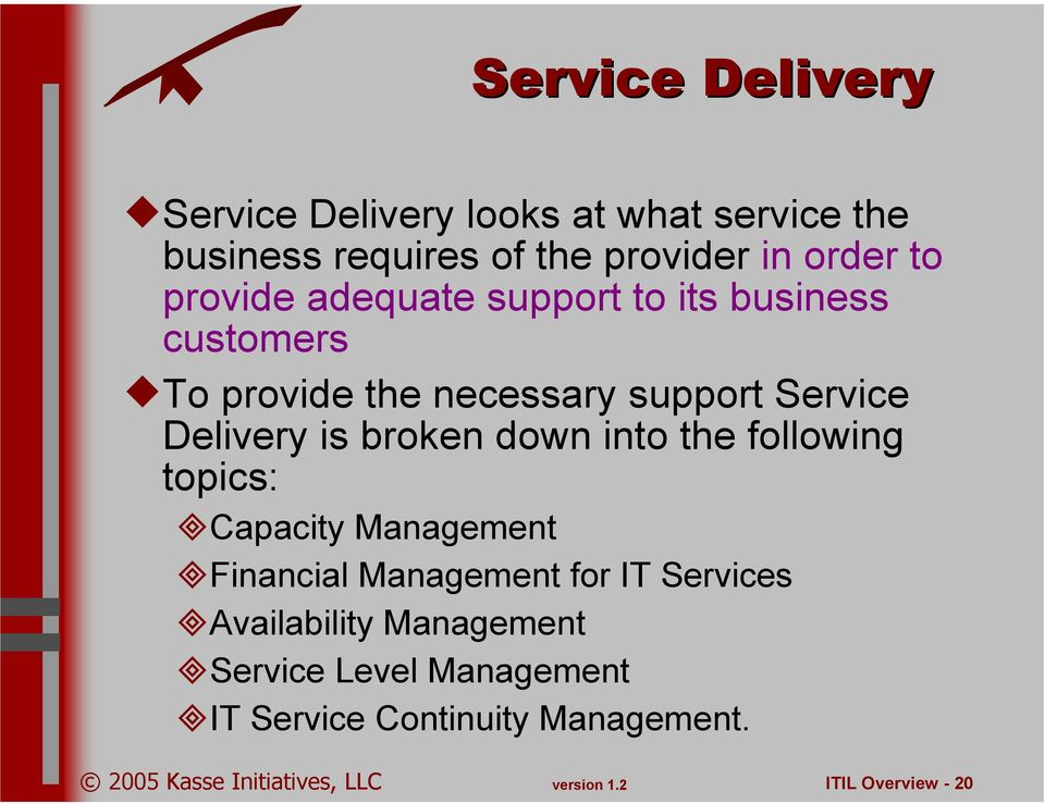 Delivery is broken down into the following topics: Capacity Management Financial Management for IT