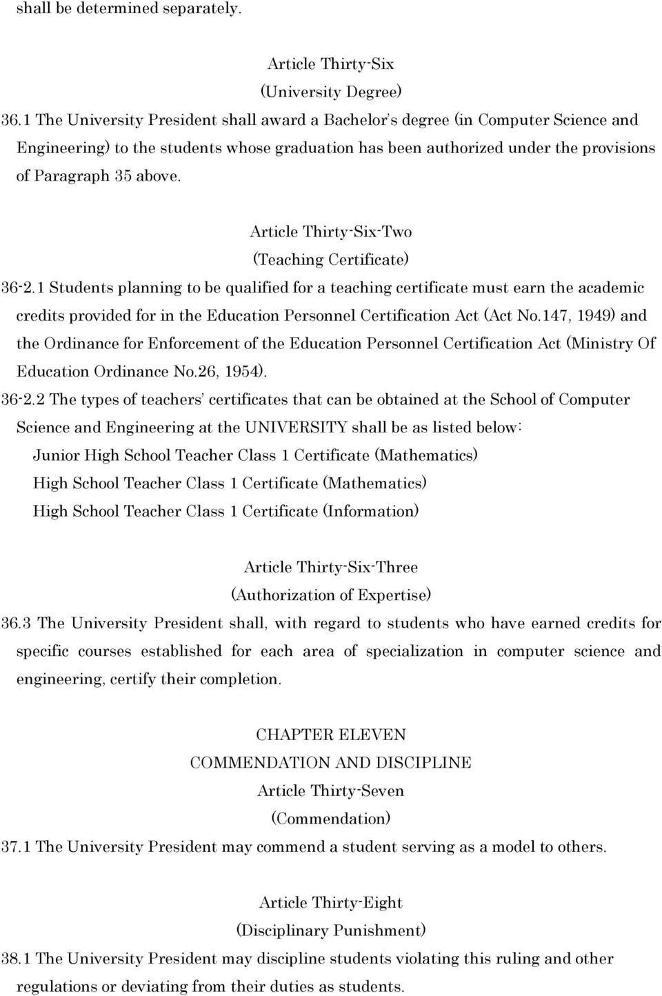 Article Thirty-Six-Two (Teaching Certificate) 36-2.