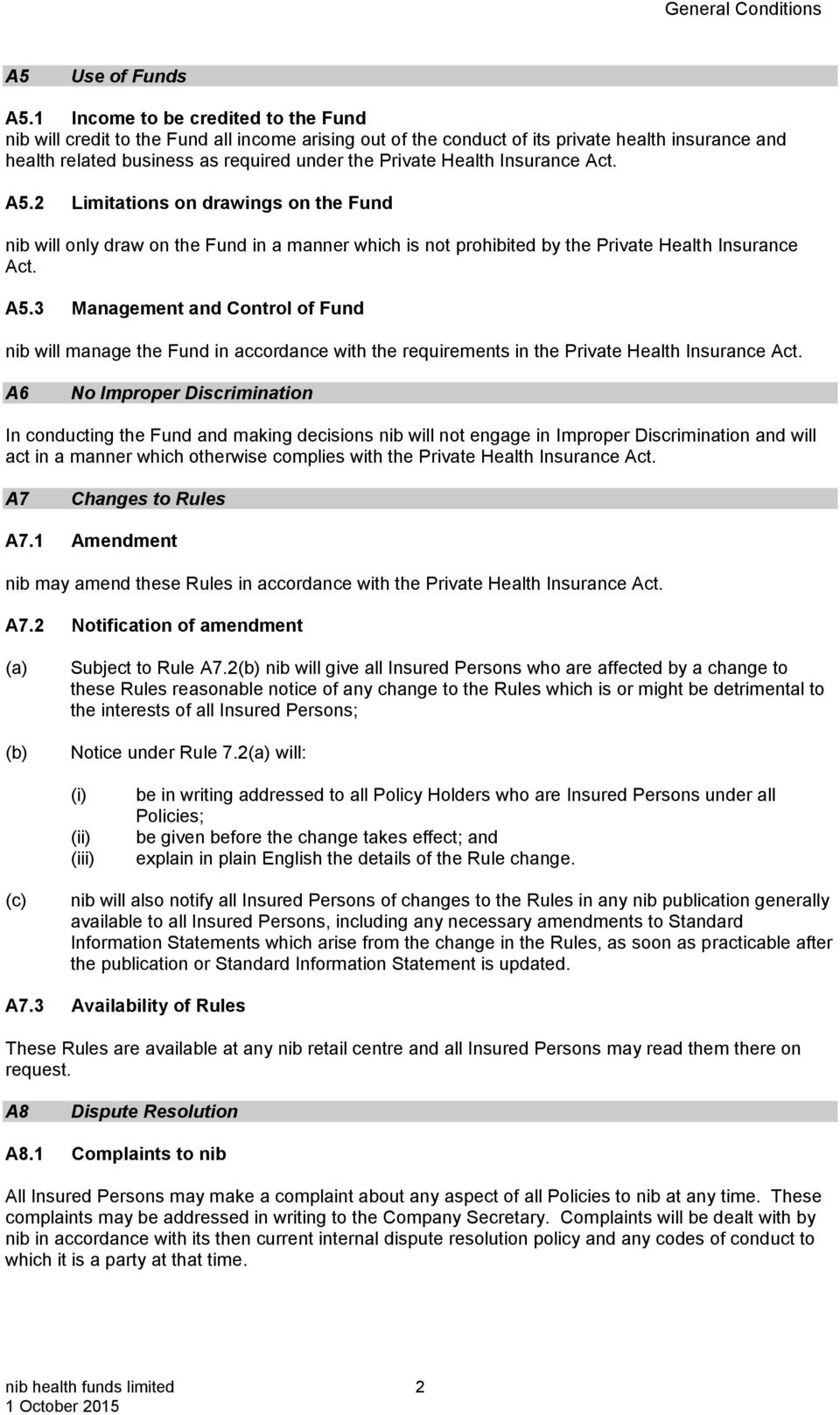 Insurance Act. A5.2 Limitations on drawings on the Fund nib will only draw on the Fund in a manner which is not prohibited by the Private Health Insurance Act. A5.3 Management and Control of Fund nib will manage the Fund in accordance with the requirements in the Private Health Insurance Act.
