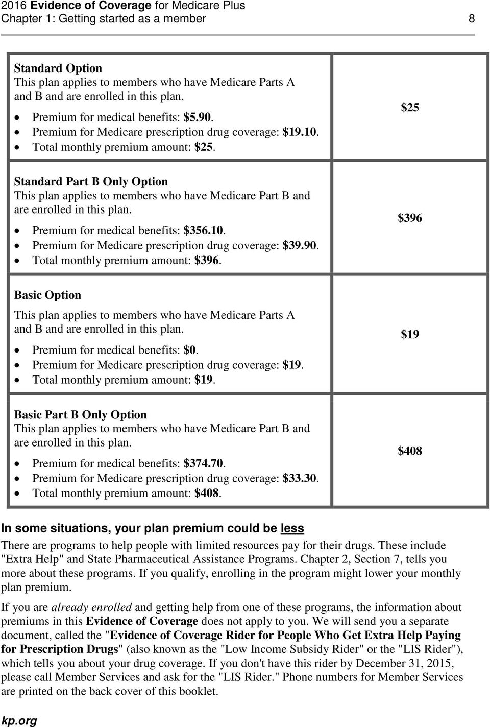 $25 Standard Part B Only Option This plan applies to members who have Medicare Part B and are enrolled in this plan. Premium for medical benefits: $356.10.