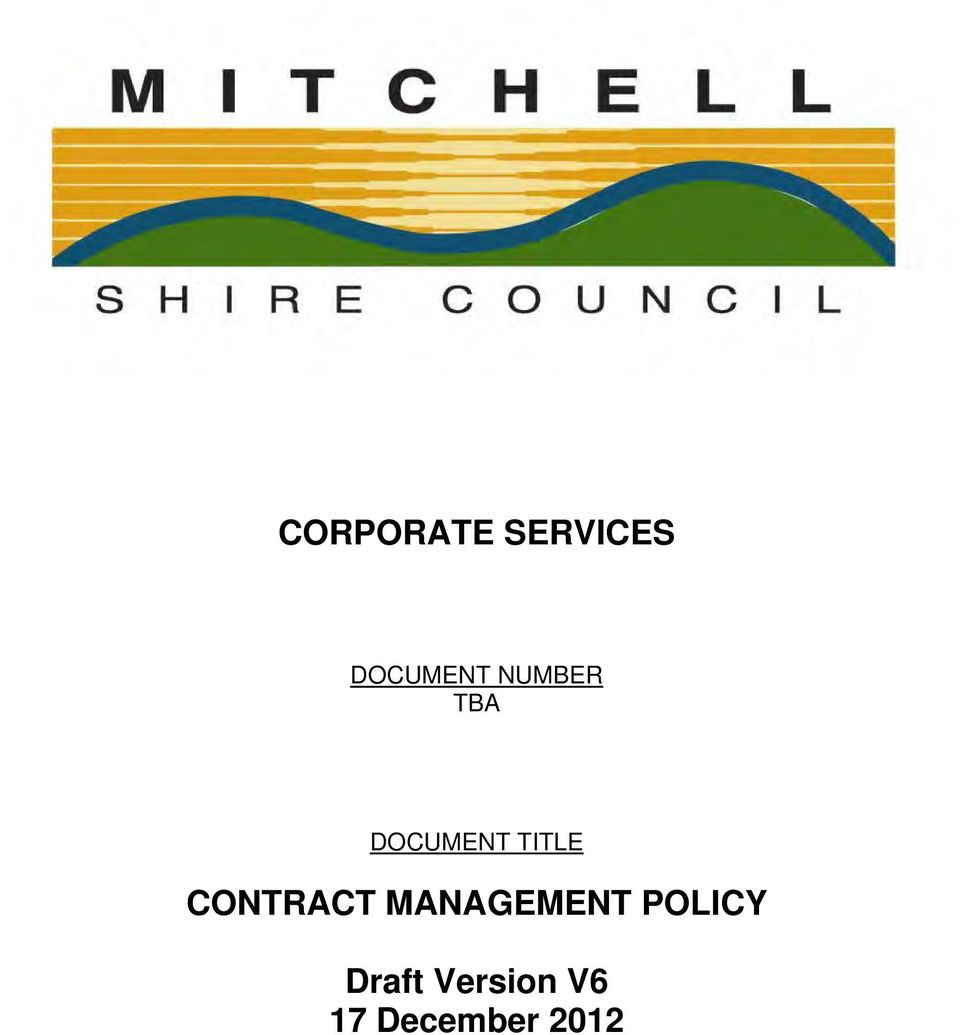 CONTRACT MANAGEMENT POLICY