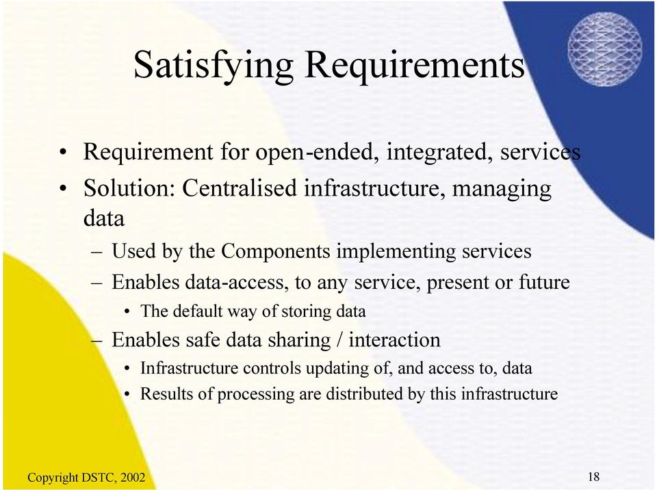 service, present or future The default way of storing data Enables safe data sharing / interaction
